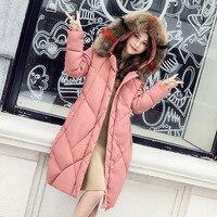 Women S Winter Parkas Sweet Solid Color True Fur Collar Long Warm Coat Female Jackets Cotton