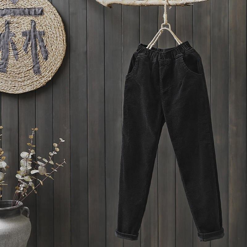 12d8655d97c Plus Size Vintage Winter Pants Women Elastic Waist Corduroy Pants Loose  Casual Harem Pants Long Trousers Women Sweatpants C5120-in Pants   Capris  from ...