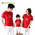 Actionclub Padre Madre Hijo Hija Niños Trajes de Algodón de Manga Corta T-shirt De La Familia Ropa Ropa Camisa A Juego de la Familia
