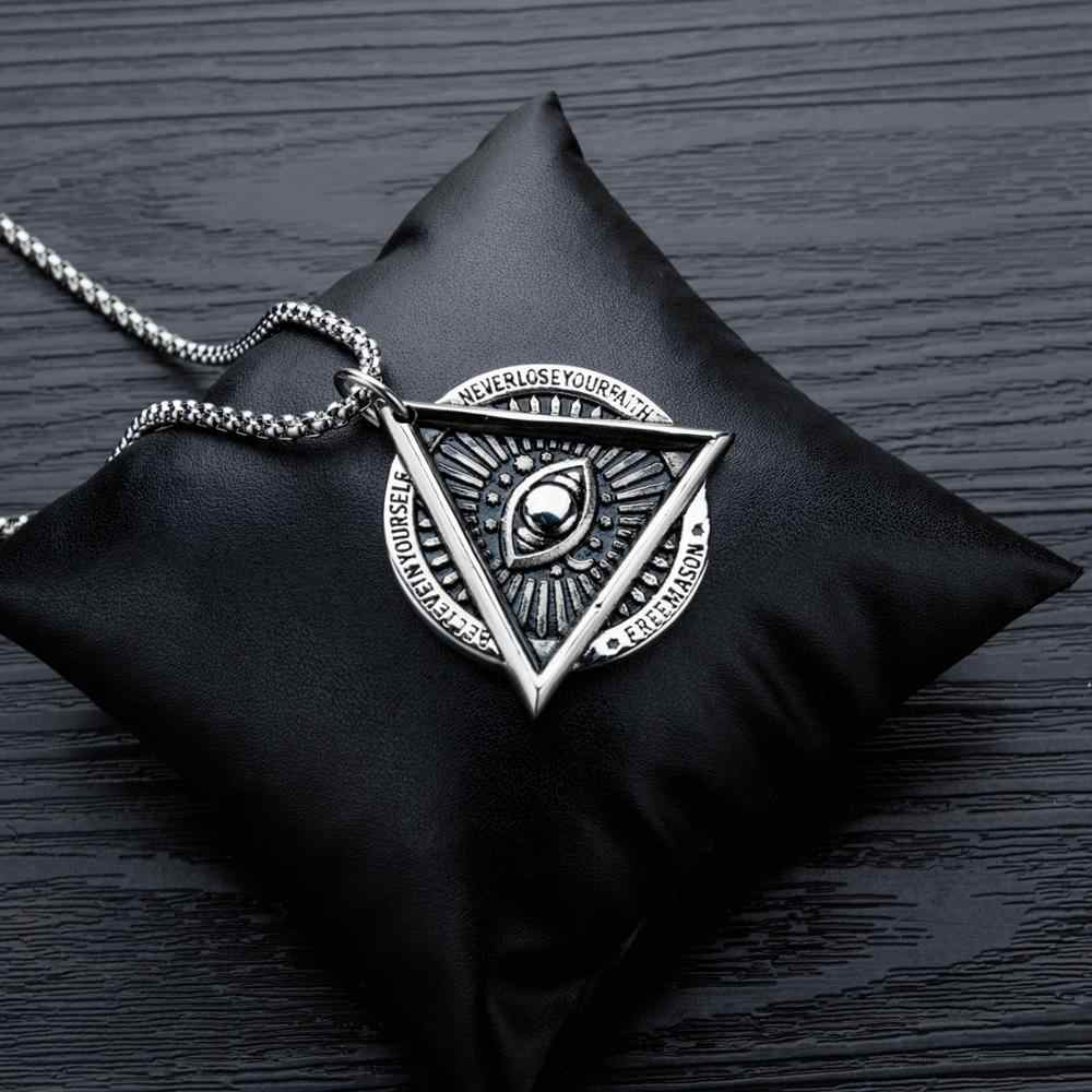 Eye of Providence Freemason Evil Eye Necklace in Stainless Steel Talisman Sign Medallion Gifts Illuminati Jewellery