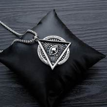 Eye of Providence Freemason Evil Eye Necklace in Stainless Steel Talisman Sign Medallion Gifts Illuminati Jewellery(China)