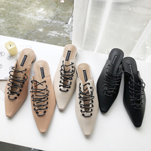 HKCP The new Korean version of the spring 2019 baotou half-toe loafer comes with a lace toe and a pointed moeller loafer C168 1pc used pkzm0 16 moeller