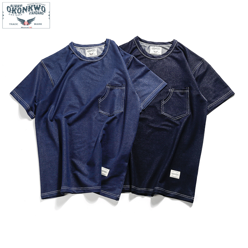 Summer Knitted Denim T-shirt Men Casual Streetwear Japanese Style Indigo Cargo T Shirt Mens Vintage Tee For Woman Clothing 2019