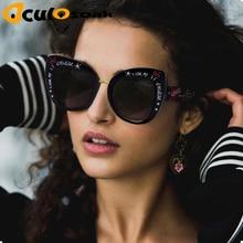 купить Oversized Cat Eye Sunglasses women luxury brand 2019 cateye eye glasses love shape stylish graffiti lunette de soleil femme по цене 260.16 рублей
