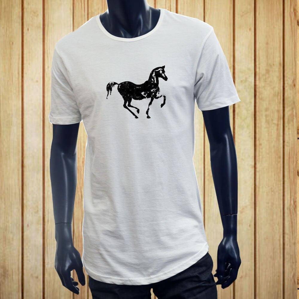 HORSEBACK RIDING EQUESTRIAN HORSE SILHOUETTE FARM Men White Extended Long TShirt