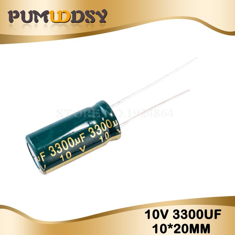 10PCS Higt Quality 10V3300UF 10*20mm 3300UF 10V 10*20 Electrolytic Capacitor