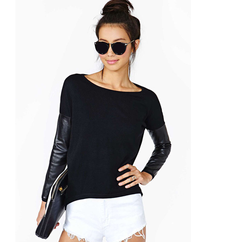 9c3ba48e25288 Black sexy Knitting women t shirt O Neck PU leather sleeve splice ...