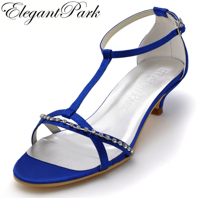 Summer Sandals Women Blue Open Toe Rhinestone T Strap Low Heel Comfortable Satin  Bridesmaid Woman