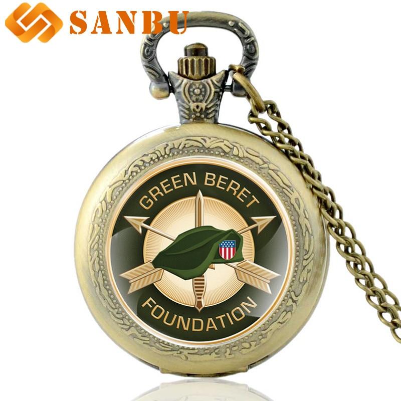 Fashion United States Army Green Beret Foundation Quartz Pocket Watch Vintage Men Women Bronze Necklace Pendant Gifts