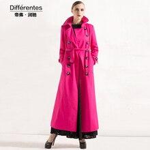 Long design trench Autumn outerwear female fashion rose red long-sleeve slim elegant long overcoat women's spring long coat