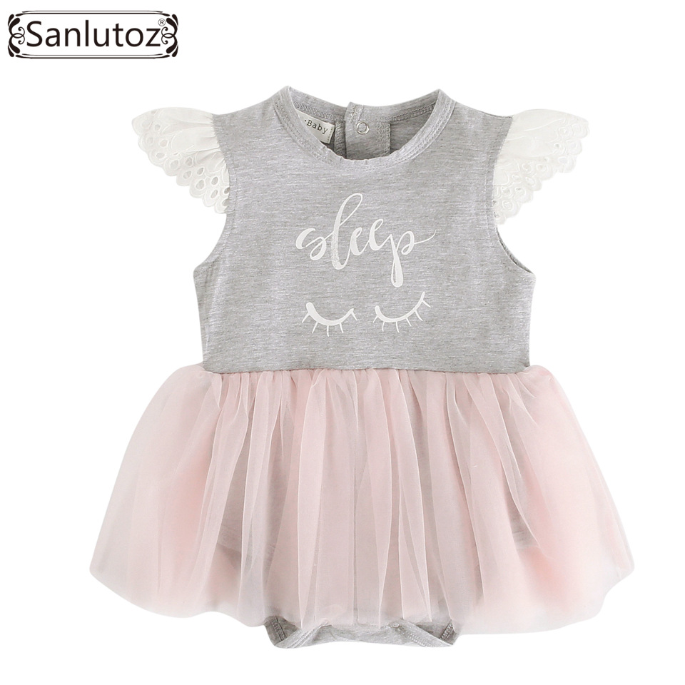 Sanlutoz Baby Girl Romper Summer Baby Girl Clothing Cotton Newborn Clothes Short Sleeve Lace Princess Tutu Romper Infant Toddler 2017 baby girl summer romper newborn baby romper suits infant boy cotton toddler striped clothes baby boy short sleeve jumpsuits