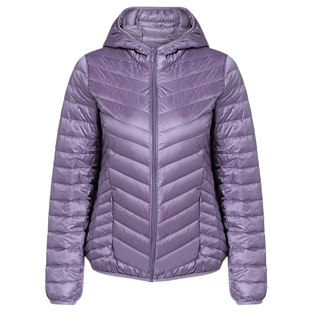 Hooded Long Sleeve Solid Color Packable Lightweight Women   Down     Coat