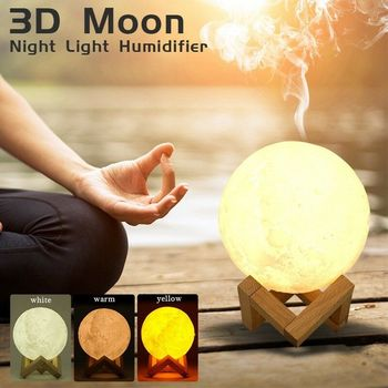 Drop Ship 880ML Ultrasoniese Moon Air Luchtbevochtiger Aroma Essential Oil Diffuser USB Mist Maker Humidificador met LED Night lamp 1