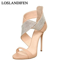 2018 Fashion Summer Shoes Woman Zipper Crystal Elegant Prom Wedges Shoes Thin Heel Sandals Women Shoes Genuine Leather TL-A0016 asumer black red fashion summer new shoes woman 2018 elegant wedding shoes thin heel high heels sandals genuine leather shoes