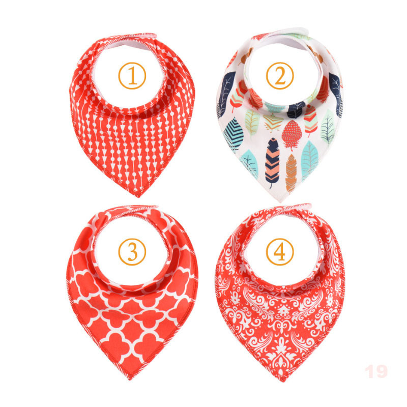 8 Group Styles Soft Cotton Baby Bibs Fashion Design Triangle Scarf Baby Saliva Cloth Tower Comfortable 4pcs/lot