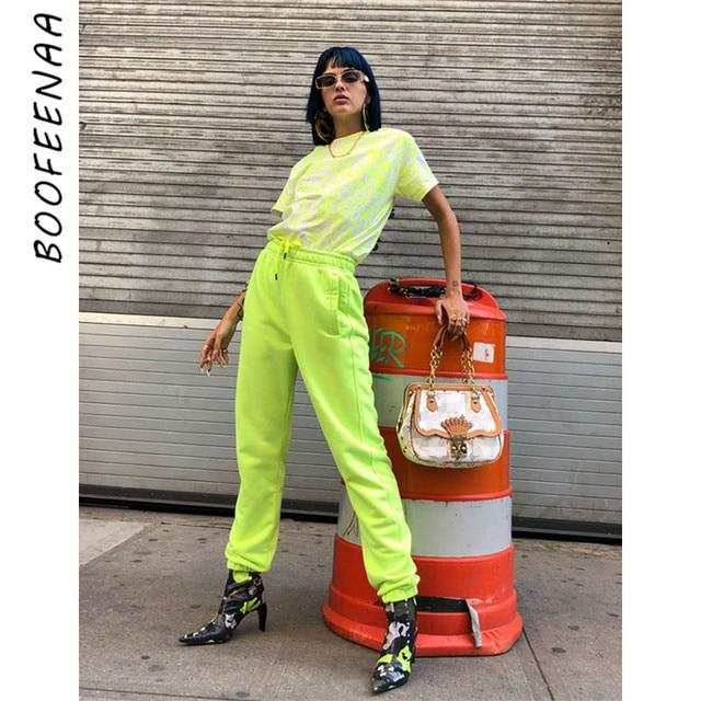 BOOFEENAA Streetwear Neon Green Pants Women High Waist Loose Casual Joggers Hip Hop Fashion Sweatpants Spring 2019 C87-AD63
