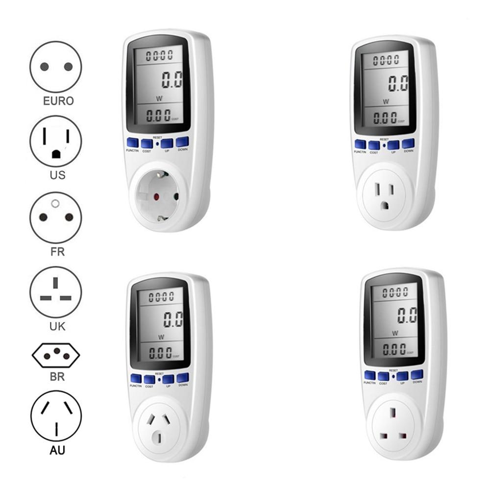 EU UNS UK Stecker Steckdose Digital Spannung Wattmeter Power Verbrauch Watt Energie Meter KWh AC 230 v 120 v Strom analysator Monitor