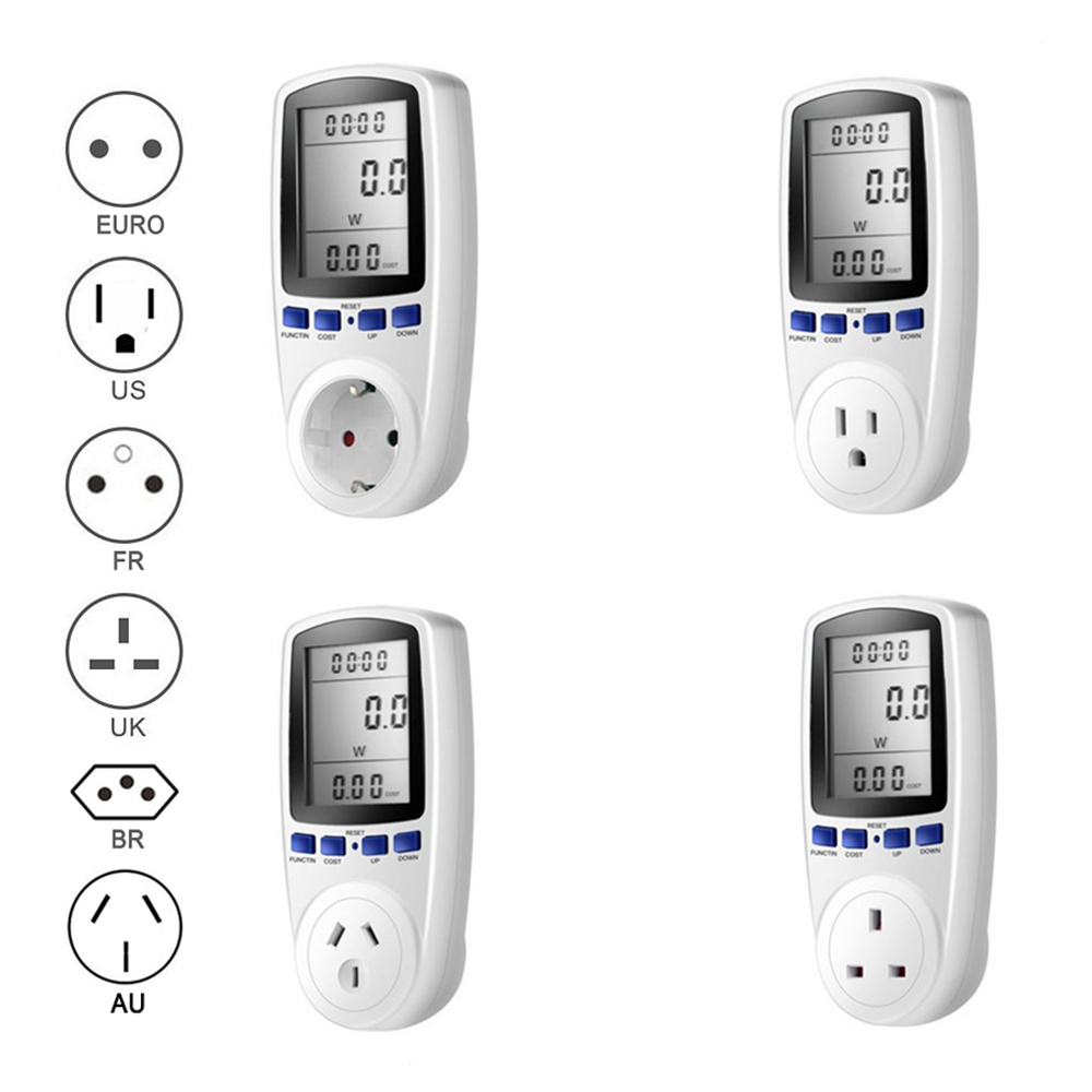 EU US UK Plug Socket Digital Voltage Wattmeter Power Consumption Watt Energy <font><b>Meter</b></font> KWh AC 230V 120V <font><b>Electricity</b></font> Analyzer Monitor image