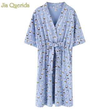 Lencería ropa de dormir mujer cielo azul gatito lindo gato estampado algodón vestido de noche con cinturón estilo japonés Kawaii ropa de dormir estudiante