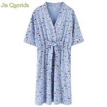 Lingerie Sleepwear Women Sky Blue Cute Kitty Cat Printing Cotton Night Dress Belted Bow Japanese Style Kawaii Nightwear Student