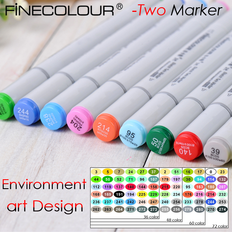 Finecolour-Two Environment art Design maker Dual Tips  tip Ink Designer Comic Art Marker Drawing touchnew 60 colors artist dual head sketch markers for manga marker school drawing marker pen design supplies 5type