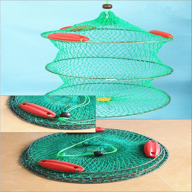 Folding Round Fish Care Drift Net Metal Frame Nylon Mesh Fishing Net 3 Layers+3 Floating Fish Care Drift Net Diameter 40/45/50cm цены