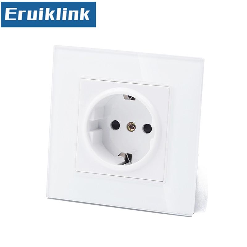 Free Shipping EU Standard Wall Power Socket,White Tempered Crystal Glass Panel AC110~250V 13A Wall Power Socket