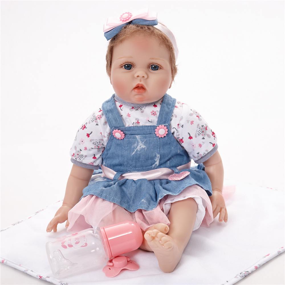 Hot Sale 55cm Realistic Reborn Baby Dolls Soft Silicone Fashion Boneca Lifelike Baby Girls Doll For Kids Birthday Christmas Gift 17 reborn dolls wear cartoon clothes baby toy realistic silicone bonecas newborn kids fashion birthday gift hot sale baby doll