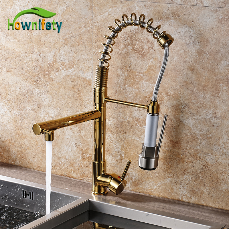 Best Quality Gold Finish Dual Spout Kitchen Sink Faucet Deck Mount Spring Kitchen Mixer Tap Kitchen Hot and Cold Water tap senducs kitchen faucet three way kitchen sink mixer tap of quality brass spring kitchen sink faucet hot cold kitchen water tap