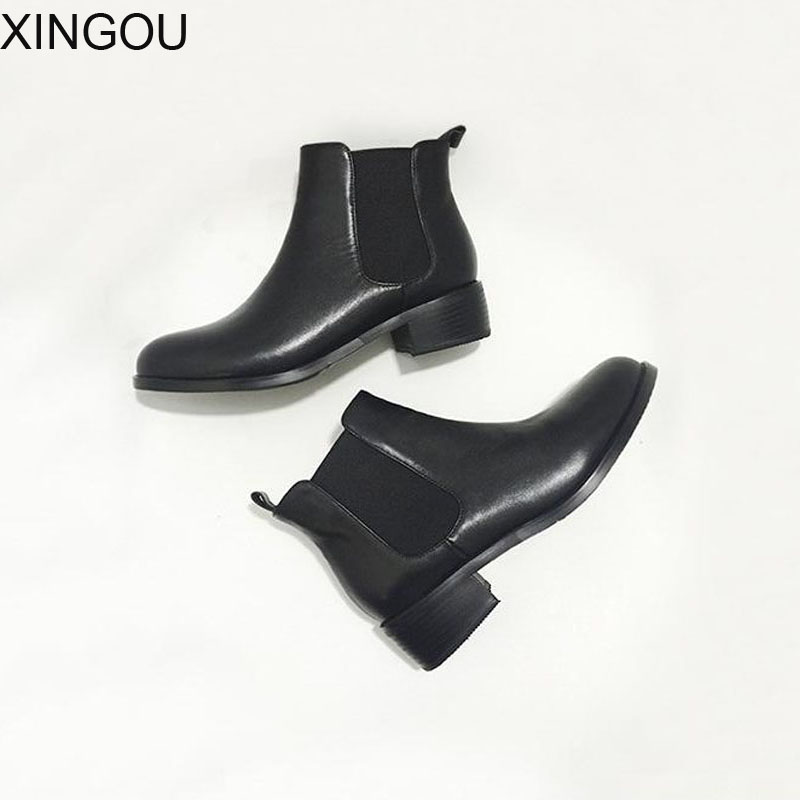 Здесь продается  New XINGOU spring leather women boots Fashion 2018 pointed Chelsea boots women solid Martin Female Leather Ankle Boots   Обувь