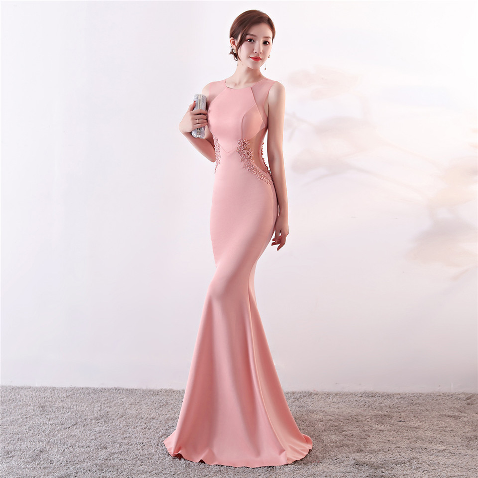 It's Yiiya Evening Dresses Royal O-neck Sleeveless Pearls Party gown Elegant Embroidery zipper back long Trumpet Prom dress C188