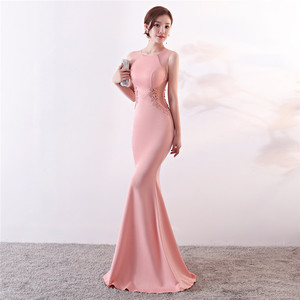 Image 2 - Its Yiiya Evening Dresses Royal O neck Sleeveless Pearls Party gown Elegant Embroidery zipper back long Trumpet Prom dress C188
