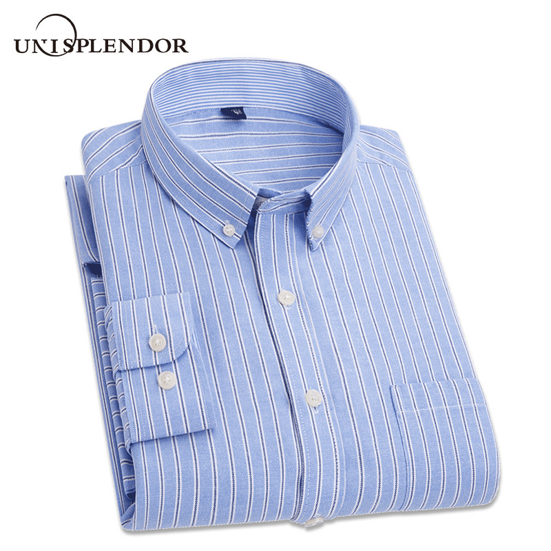 2018 Spring Autumn Men Dress Shirts Striped Long Sleeve Mans Clothing Cotton Male Camisa Casual Shirt Brand Full Shirts YN10266