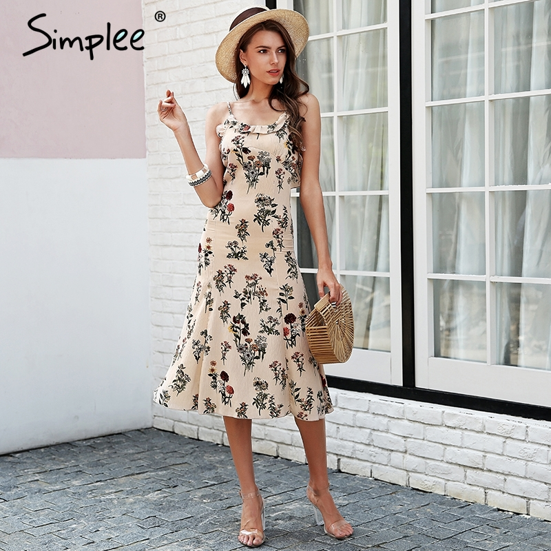 2c4f672d91 Simplee Strap floral print boho dress Backless ruffle sexy black midi dress  women Beach summer dress