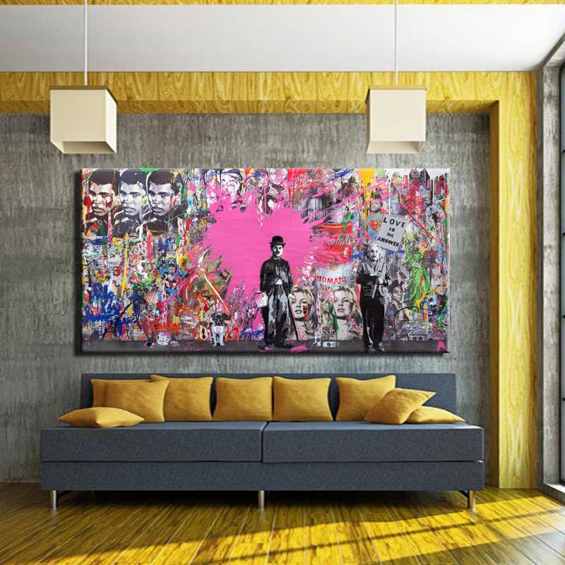Известный Чарли Чаплин художник стены Книги по искусству живописи печать плакат Холст Граффити Книги по искусству стены картину для Гостиная Home Decor