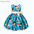 Malayu Baby 2017 Europe and the United States the new summer girl brand high-quality dress, cartoon print girls bow dress