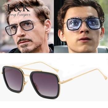 Steampunk mężczyźni okulary przeciwsłoneczne Tony Stark Iron Man okulary przeciwsłoneczne okulary Retro w stylu Vintage Steam Punk okulary przeciwsłoneczne UV400 óculos De Sol tanie i dobre opinie Long Keeper WOMEN SQUARE Dla dorosłych Ze stopu Lustro Gradient 51mm Z poliwęglanu G-LM66218 60mm Fashion Vintage Retro Style Sun Glasses Elegant Style Goggle