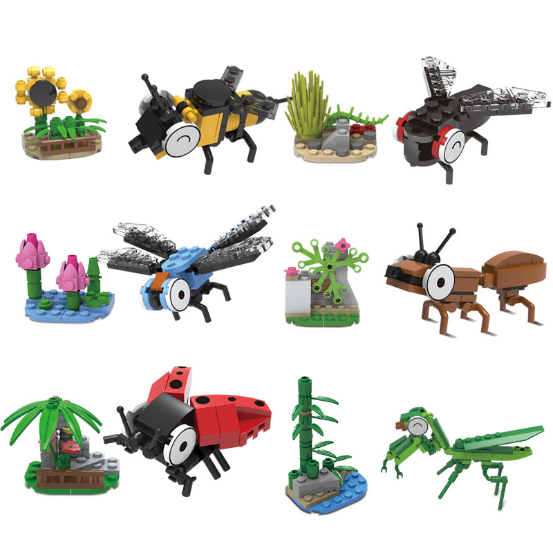 367Pcs Insect Building Blocks ABS Plastic Compatible Model Kit Bricks DIY Educational Toy For Children Kid Animals Gift