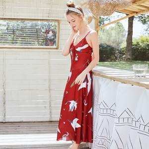 Image 1 - Women Robe Silk Women Sleepwear Sexy Female Robe Kimono Satin Flower Printing Bath Robe 2019 Summer Dressing Gown Home Wear