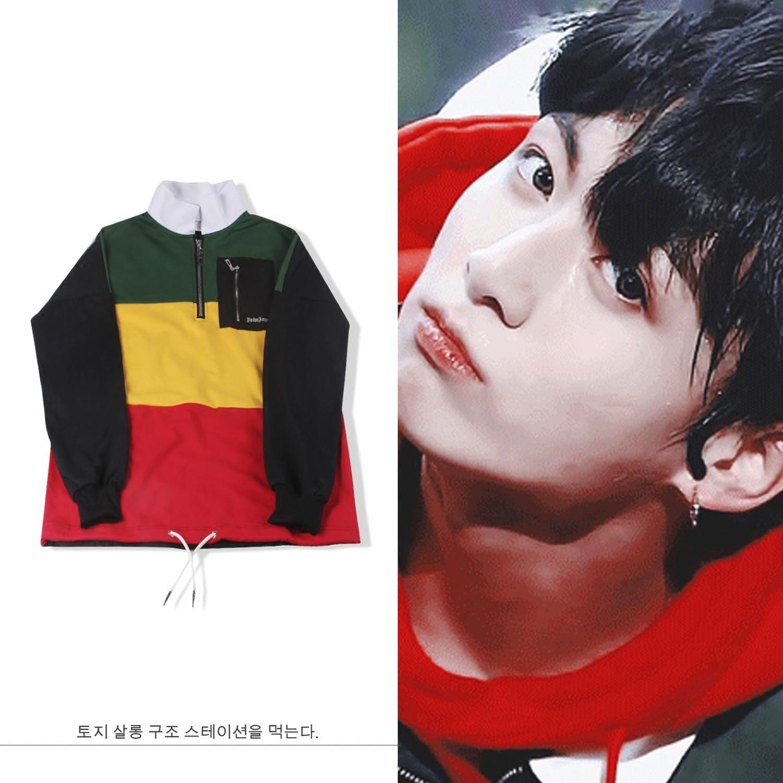 New Kpop  Bangtan Boys JUNG KOOK the Same Plus Cashmere Hoodie Splice Color Matching Sweatershirt Fall and Winter Hoody bts v warriors jacket