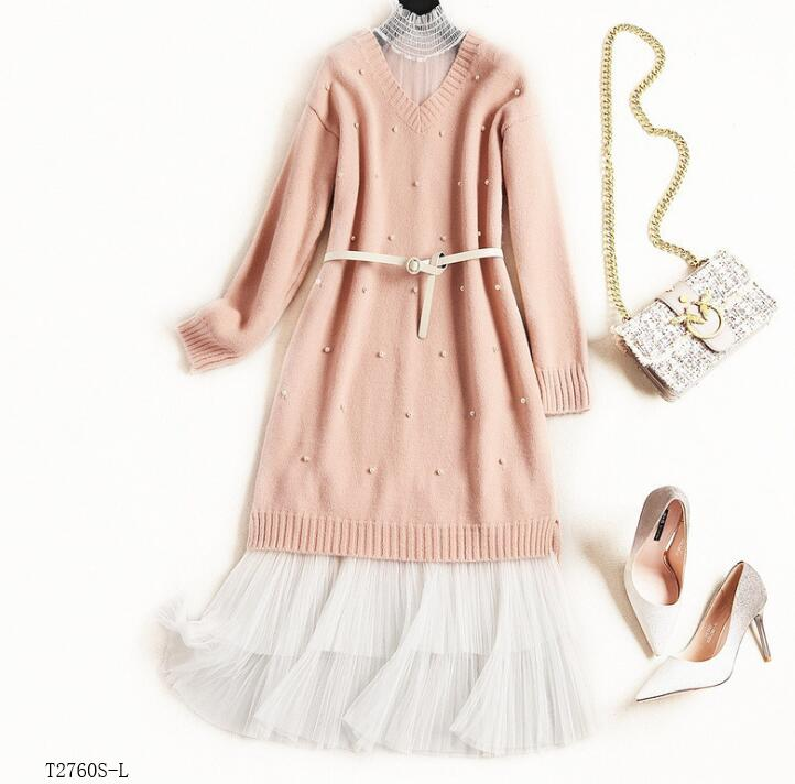 Color Décontracté Robe Mode Hiver Européen T2760 2019 Maille Costume Style Tricoté Nouveautés Blouse Femmes Photo Vêtements Printemps aHRPqA