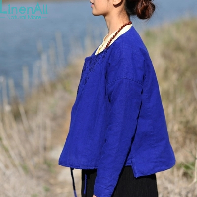 Linen clothing blue women's winter linen and cotton top outerwear small wadded jacket small cotton-padded jacket LinenAll