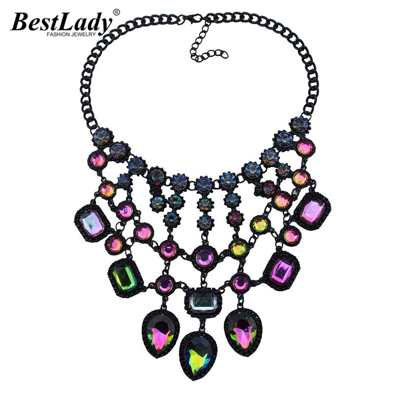 Best lady New Special Design Good Quality Multicolored Bohemian Sexy Maxi Necklace Hot Collar Women Statement Necklace Wholesale