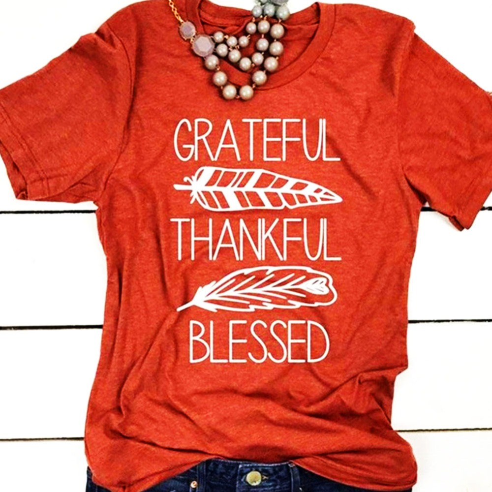 Fashion New Women T-shirt Summer Short Sleeve T Shirt Brick Red Blessed Feather Print O-neck Tees Ladies  Casual Female Top