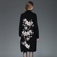 2018 весна кардиган свитер Для женщин шерстяной свитер урожай Для женщин вышивка цветок вязаный длинный кардиган пальто мыс верхняя одежда