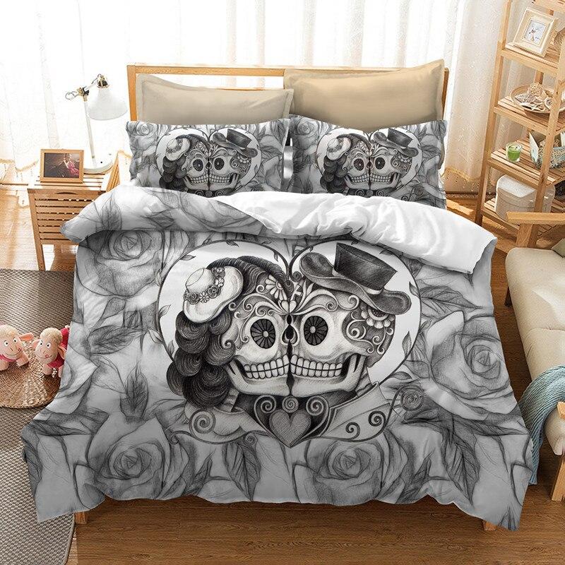 Fanaijia カップルキス頭蓋骨寝具セットクイーンサイズシュガースカル布団カバーベッドクールスカル bedline AU 米国サイズベッド  グループ上の ホーム&ガーデン からの 寝具セット の中 1