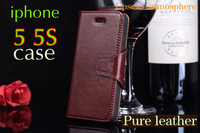 Free Shipping Flip Leather Case For Apple Iphone 5S Cell Phone Cases Head Layer Cowhide Upscale