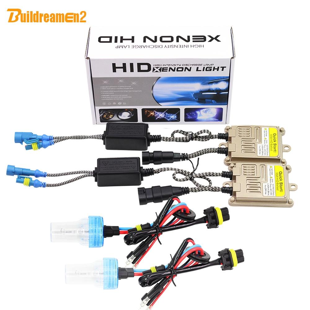 Buildreamen H1 H3 H7 H8 H9 H11 880 881 9005 9006 9012 55W HID Xenon Kit AC Ballast Bulb 3000K-8000K Car Light Headlight Headlamp