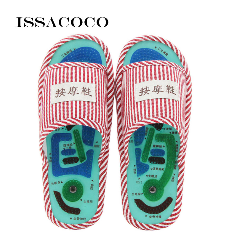 ISSACOCO New Home Slippers Acupressure Acupoint Massage Foot Shoes Indoor Slipper Zapatillas Pantuflas