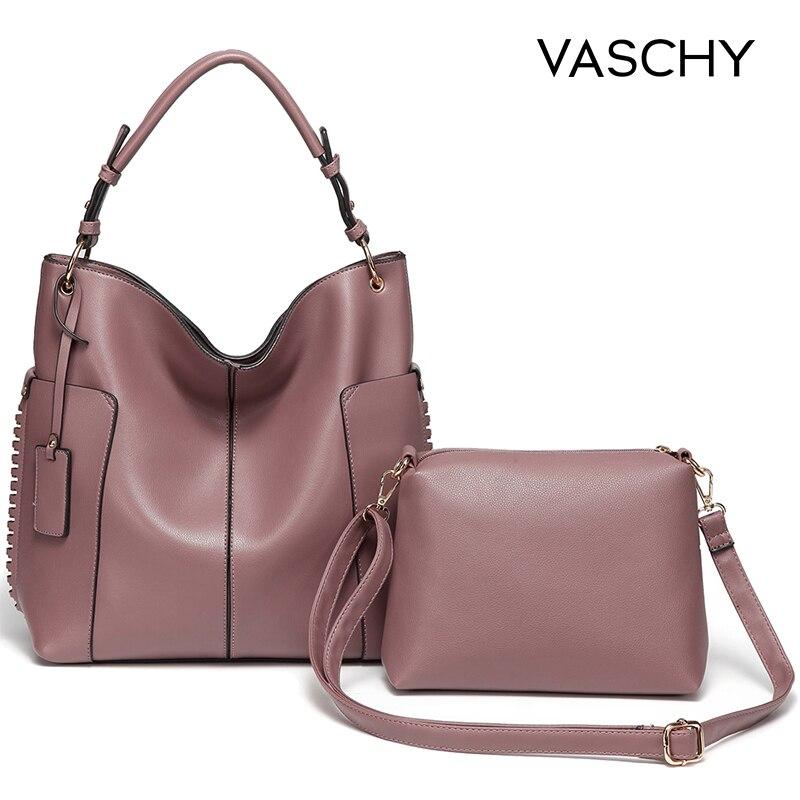 VASCHY Deux Pièces Ensemble sac à main des femmes sac hobo Sac À Main pour femmes, Vaschy Faux En Cuir fourre-tout shopper Mode Rose dames sacs à main